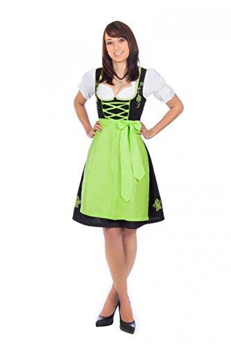 Bayerische Trachten-Dirndl Kleid 3-teilig mit Schürze + Bluse Farbe -Schwarz,36