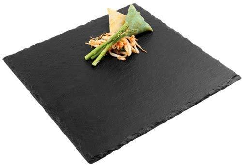 Plato de piedra pizarra negra natural | aperitivos platos sólidos cuadrados | Biblioteca de Sushi Barbecue Tapas plato Pintxos para bar cocina | Presentación de la comida
