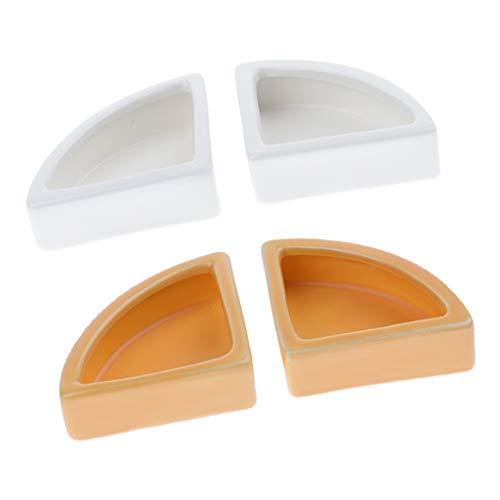 Homyl 4 Pezzi Alimentazione Ciotole in Ceramica per Rettilari Anti-Fuga Cibo Acqua Piatto Ciotola per Tartarughe Lucertole