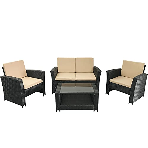 TUOKE 4 Seater Garden Rattan Furniture Sofa Armchair Set + Cushions And Coffee Table Wicker Weave Conservatory