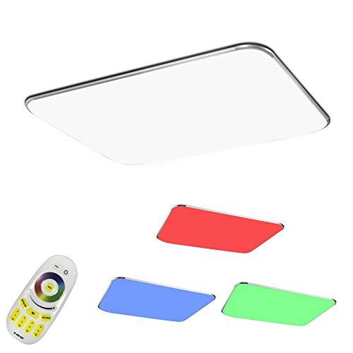 COOSNUG LED Deckenleuchte 48W RGB Dimmbar Deckenlampe Wohnzimmer Lampe Modern Deckenleuchten Kueche Badezimmer Flur Schlafzimmer (Silber Dimmbar 3000-6500K)