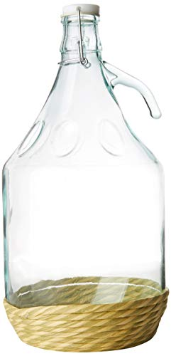 Home 1900500 - Damajuana de vidrio con funda de plástico, 5 L, color Gris