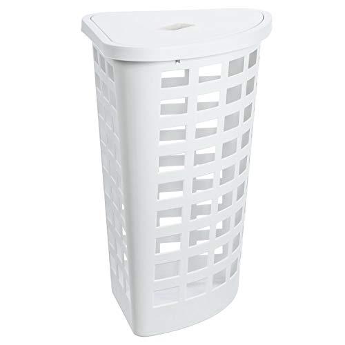 Plast Team Boston Eckwäschekorb, 54 Liter, Farbe Weiß, Eckig