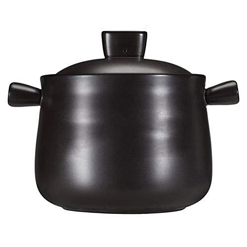 ATTDDP Cocottes en Céramique Cocotte en Terre Cuite -Céramique Pot, Nouvelle-Poterie, 4.5L,Noir,4.5L