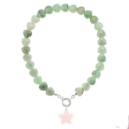Declaración de regalo para niñas, gargantilla con colgante de cristal verde rosa natural, joyería bohemia para mujer, corazón, estrella de piedra natural