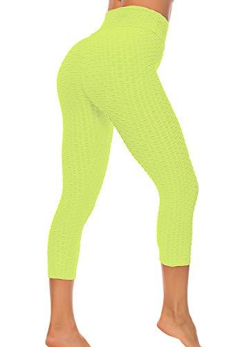 FITTOO Mallas 3/4 Leggings Capris Mujer Pantalones Yoga Alta Cintura Elásticos Super Suave #1 Amarillo S