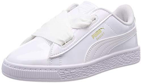 Puma Basket Heart Patent PS, Zapatillas para Niñas, Blanco White White, 29 EU