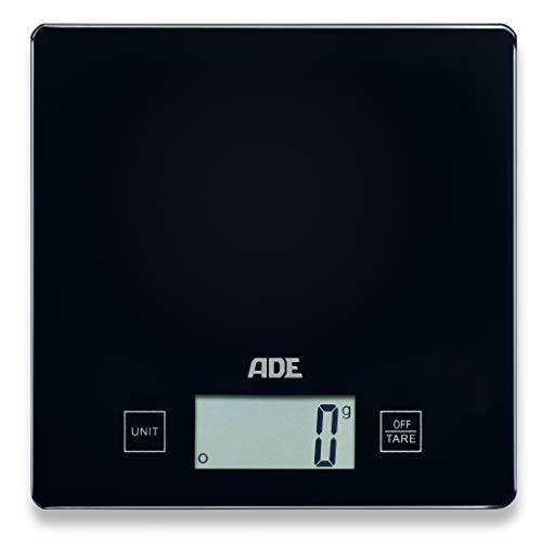 ADE Küchenwaage KE 1818-3 Tina (digital und präzise für Küche und Haushalt, grammgenau bis 5 kg, mit Zuwiegefunktion, platzsparendes Design) schwarz