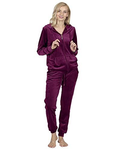RAIKOU Tuta casa Donna Invernale Giacca con Chiusura Lampo Pantaloni Lunghi in Velluto Tuta da Ginnastica Abbigliamento con Cappuccio per Stare