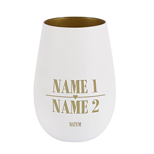 Herz & Heim® Windlicht zur Hochzeit mit Gravur der Namen und Datum - ideal als Tischdekoration zur Hochzeit