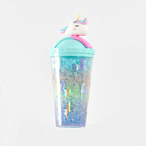 WANZSC Unicornio creativo botella de agua tipo paja con tapa verano gran capacidad estudiante lindo hielo taza plástico femenino dibujos animados r2012 (B)