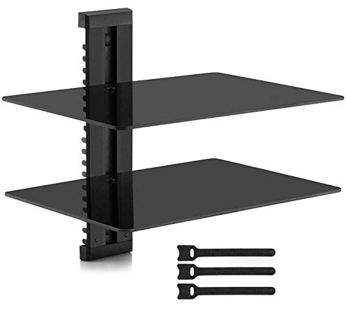 PERLESMITH Floating AV Shelf Double Wall Mount Shelf - Holds up to 16.5lbs - DVD DVR Component Shelf with Strengthened Tempered Glass - Perfect for PS4, Xbox, TV Box and Cable Box