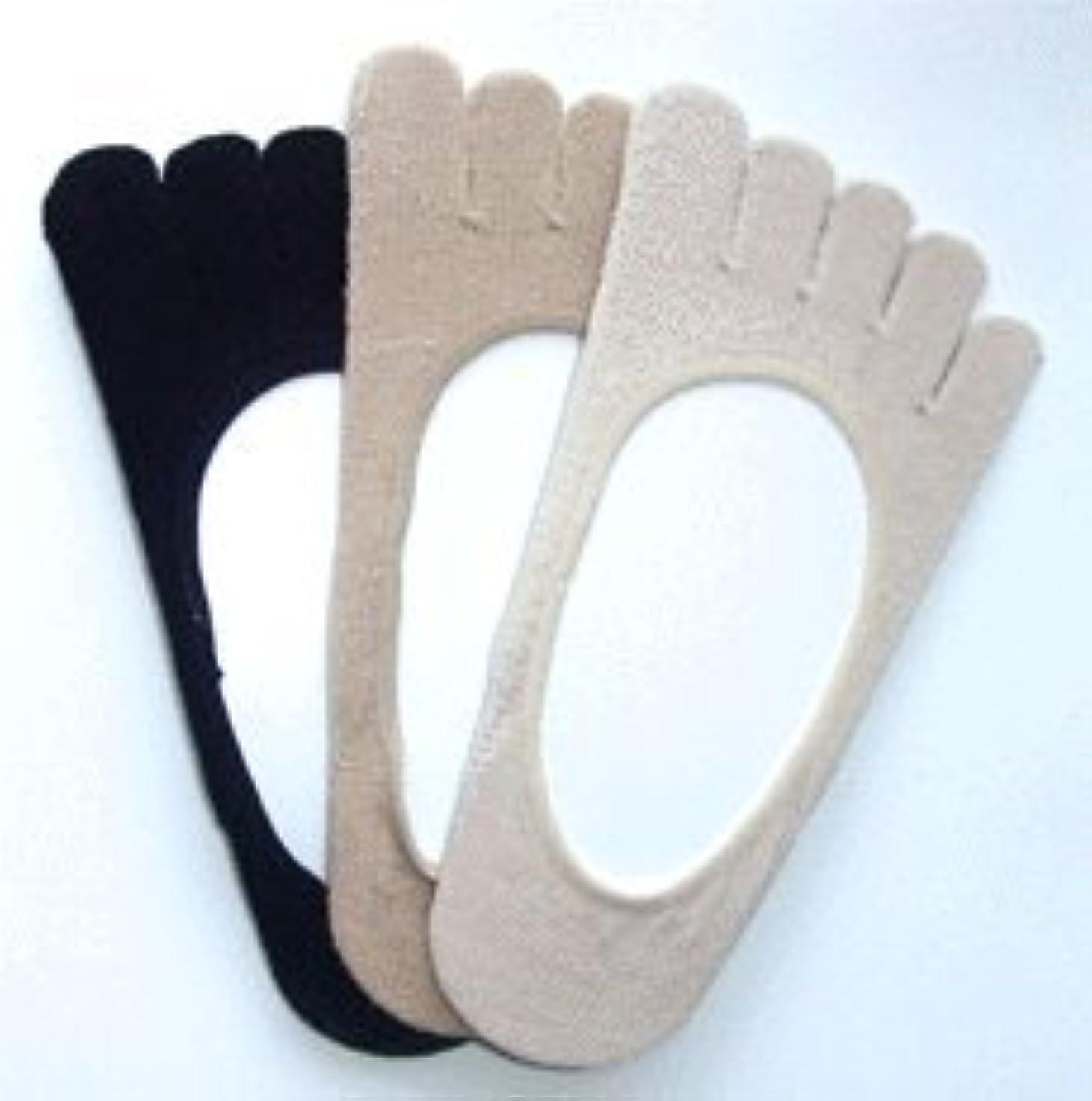 ロケーション手綱中日本製 シルク五本指 フットカバー パンプスインソックス 3足組(ベージュ系2足、黒色1足)