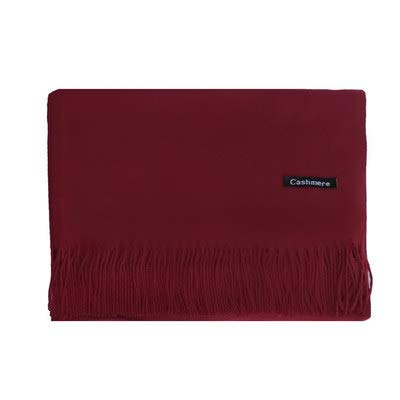 Bufandas Mujer Otoño E Invierno Imitación Cachemira Buena Textura Color Sólido Habitación Engrosada Con Aire Acondicionado Chal Cálido De Doble Uso 35 * 200 Licor Rojo