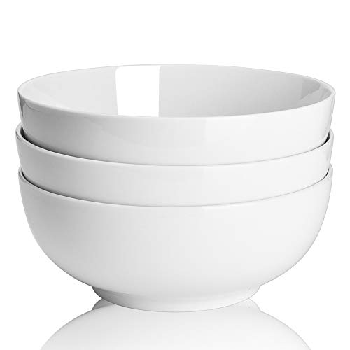 TGLBT 55oz Porcelain Salad/Soup Bowl- 3 Packs,Serving Bowls for Pasta and Fruit Stackable Round Large,White