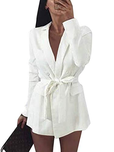 Minetom Damen Mini Blazer Kleid Frauen Elegant Langarm V-Ausschnitt Solide Hemdkleid mit Gürtel Business Lange Hülse Büro Jacken Anzug Weiß DE 34