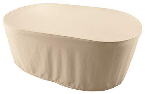 KaufPirat Premium Funda para Muebles de Jardín Ovalado 150x100x70 cm Cubierta Impermeable Funda para Mesa para Mobiliario de Exterior Beige