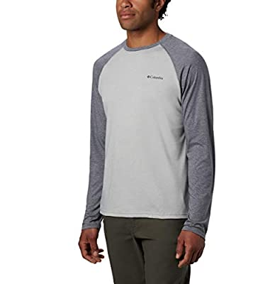 Columbia mens Thistletown Park Raglan Tee Hiking Shirt, Columbia Grey Heather, City Grey Heather, Small US