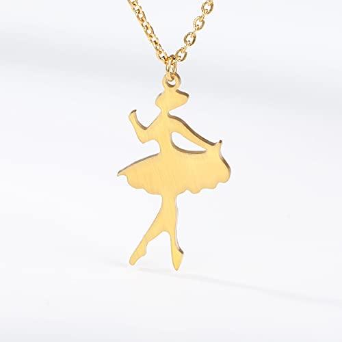 Collar Colgante Collar colgante de acero inoxidable con figura de moda para niños niñas mujeres ángel ballet colgante collar en color dorado joyería Collar amistad Aniversario Cumpleaños Regalo