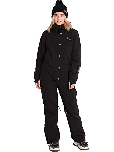 Women's One Pieces Jumpsuits Coverall Ski Suits Snowsuits for Snow Sports (2XL, BLK)