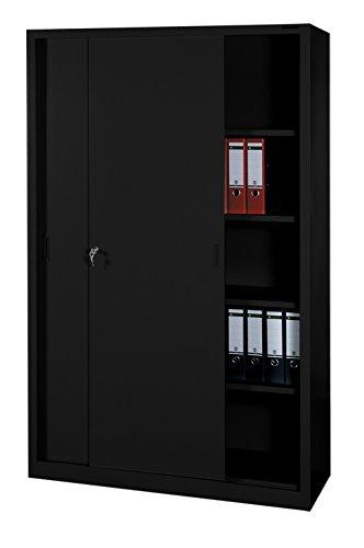 Schiebetürenschrank Büro Aktenschrank Büroschrank schwarz aus Stahl 550169 Maße: 1950 x 1200 x 450 mm kompl. montiert und verschweißt