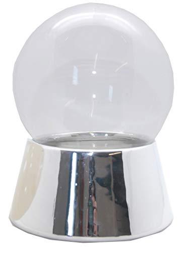 Snowglobe for you 40043 120mm-Do-it-Yourself Schneekugel Sockel Silber mit Glaskugel erweiterbar für Spieluhr