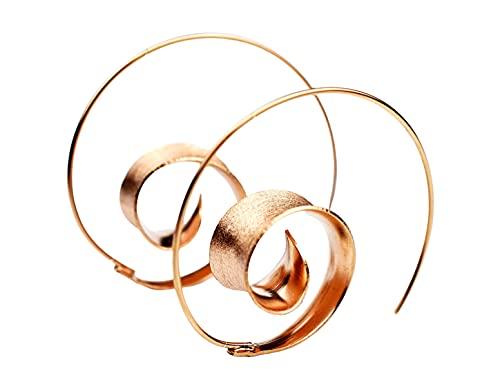 Ohrringe Spirale Hängend - Rose Vergoldet - 925 Sterling Silber - Boho Spiral Ohrstecker