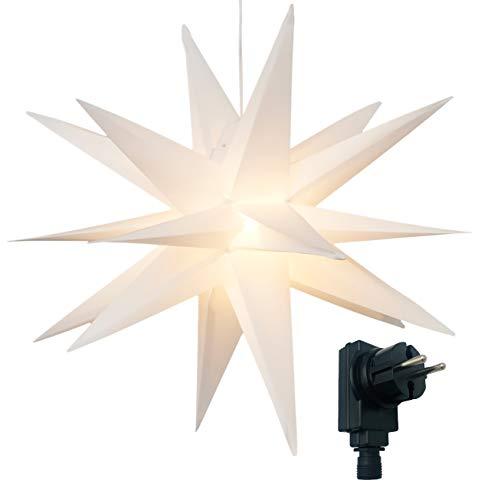 3D Leuchtstern inkl. warm-weißer LED Beleuchtung | für Innen und Außen geeignet | hängend | 7,5 m Zuleitung | ca. 57x44x48 cm (Weiß)