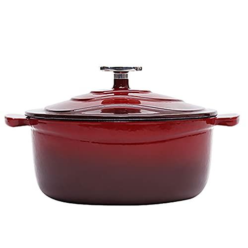 SS&LL 1.9QT Esmalte Arrabio Horno Holandés,Pre-experimentado,Natural Antiadherente Lento Cocotte,Fácil De Limpiar,para Acampada Cocina Hilvanado Hornear-Rojo 24.8x14cm(10x6inch)