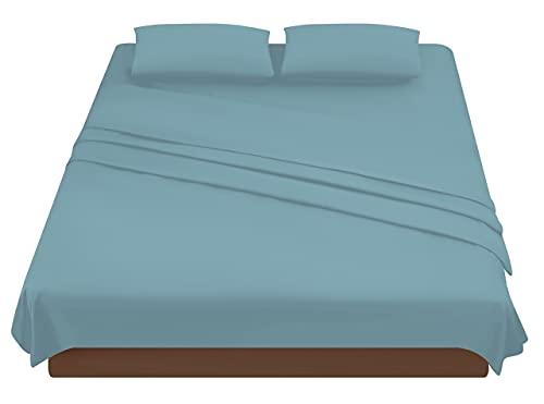 Juego de sábanas para cama de matrimonio, de microfibra, juego de sábanas bajeras con esquinas de 160 x 200 cm, sábana encimera de 240 x 280 cm, 2 fundas de almohada de 50 x 80 cm