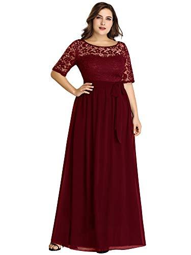 Ever-Pretty A-línea Encaje Talla Grande Vestido de Fiesta Cuello Redondo Largo para Mujer Borgoña 56