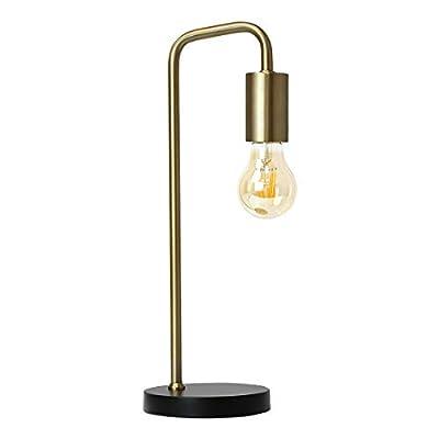 O'Bright Industrial Desk Lamp, 100% Metal Lamp, UL Certified Ceramic E26 Socket, Minimalist Design for Home Decoration, Table Lamp for Bedroom/Office/Dorm, ETL Listed, Gold-Black