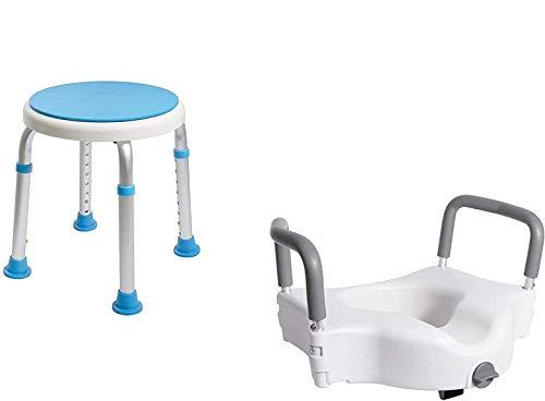 Vaunn Medical Bathroom Safety Bundle - Rotating Shower Stool Chair and Raised Toilet Seat