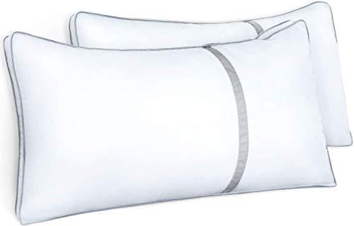 BedStory 2er Set super weich Mikrofaser Kopfkissen(1700g), hochwertige 40x80x22cm Komfort Hotel Kopfkissen, Doppelseitenband-Design behält die Form dauerhaft Flauschig
