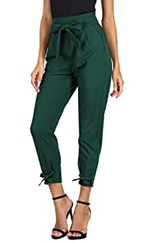 GRACE KARIN Women s Cropped Paper Bag Waist Pants with Pockets Dark Green