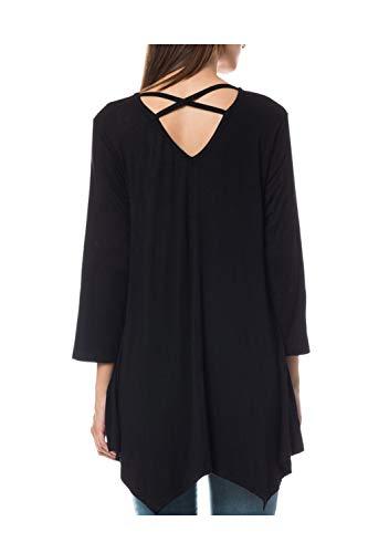 LE3NO Womens Loose Casual 3/4 Sleeve Handkerchief Hem Tunic Top, Black, Small