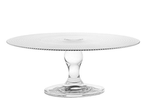 Car Bomboniere Centre de Table sur Pied en Verre Transparent avec Motif Géométrique en Relief, 28 cm de Diamètre et 11 cm de Hauteur, Transparent