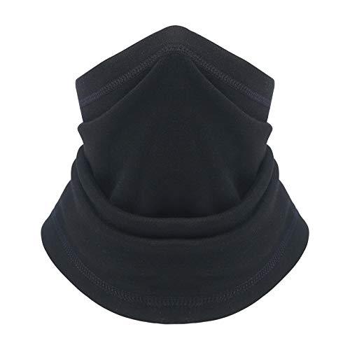 VERTAST Calentador de cuello de forro polar de invierno, bufanda gruesa de cuello largo, pasamontañas a prueba de viento, gorro elástico universal, color negro