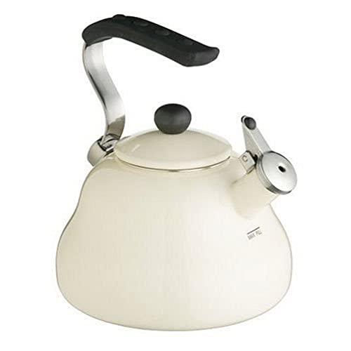 KitchenCraft Le`Xpress Pfeifender Wasserkessel, Cremefarbener Emaille-Wasserkocher, 2 L, mit Füllmarkierung, in Geschenkbox
