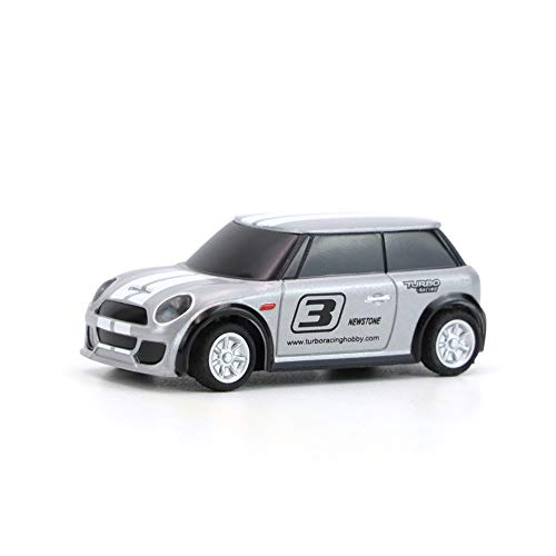 Ready to Run 1:76 Scale 2.4Ghz Mini RC Car Radio Remote Control with Transmitter Micro Racing Car Toy DIY Car Shell for Boys Kids Gift (Grey)