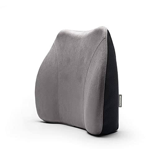 WENNEBIRD Model Q Lumbar Support Pillow, Memory Foam and Ergonomic Design, Two-Layer Construction for Office/Computer Chair, Car Seat, etc - Grey
