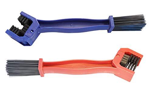 Twowinds - Cepillo Limpiador Cadena Moto Bici Herramienta Limpieza Engranajes (2 por pack Rojo+Azul)