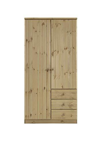 Steens Ribe Kleiderschrank, 2 Türen und 3 Schublade, 101 x 202 x 59 cm (B/H/T), Kiefer massiv, gelaugt geölt