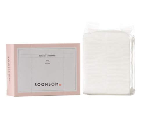 SoonSom Korea - Tamponi 100% cotone naturale con motivo in rilievo, confezione da 100 pezzi