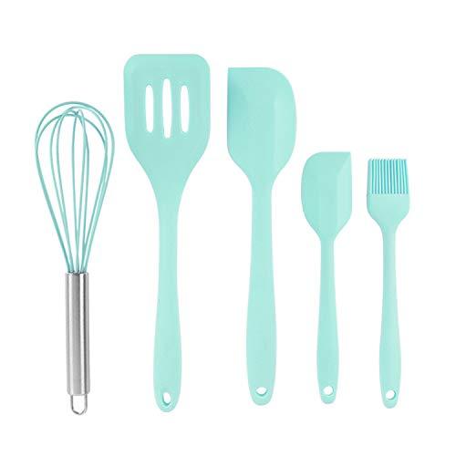 BvCook 5pcs Silicone Whisk Spatula Basting Brush Set Kitchen Utensil Silicone for Cooking Baking Mixing BPA FREE(LightGreen)