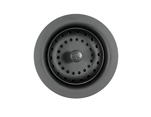 Plumb Pak K5414BLK Keeney Stainless Steel Kitchen Sink Strainer with Fixed Post Basket, Fits Standard 3-1/2-Inch Openings, Black