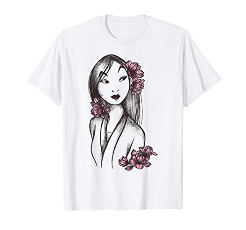 Disney Mulan Sketched Floral Hair Portrait Maglietta