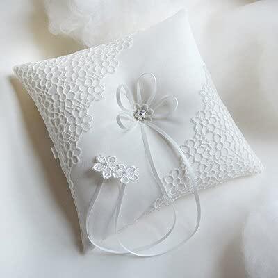 Almohada de anillo de boda con diseño de flores, para novia, flores, niños, accesorios de boda (color: blanco, tamaño: 18 x 18 cm)