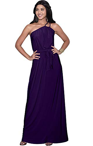 KOH KOH Plus Size Womens Long Sleeveless One Shoulder Cocktail Evening Formal Bridesmaid Bridal Wedding Party Summer Sexy Cute Maternity Gown Gowns Maxi Dress Dresses, Indigo Blue Purple 2XL 18-20