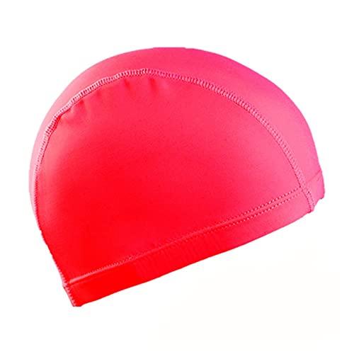 GTRHD Cappellino da Bagno Tappi di Nuoto Dimensione per Uomo Donne Donne Elastico Nylon Protezione 'Orecchio Capelli Lunghi Piscina Cappello da Bagno Ultrathin Bash Comodo e Flessibile (Color : Red)